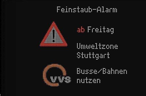 Anzeigetafeln wie diese weisen Autofahrern künftig den Weg. Foto: Stadt Stuttgart
