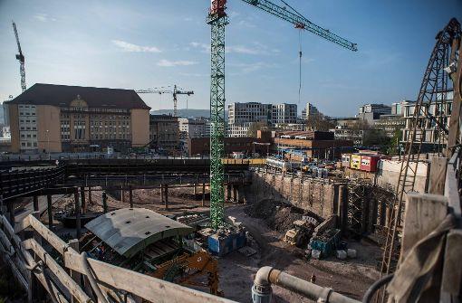 Nachts Bauarbeiten für Stuttgart 21