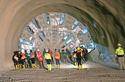 Unter dem Boßler, zwischen Aichelberg und Gruibingen, wird der Tunnel für die künftige Bahntrasse gebohrt Foto: Horst Rudel