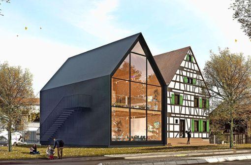 So soll das Kinderhaus Steinenbronn einmal aussehen. Das Fachwerkhaus wird saniert und das linke Gebäude angebaut. Foto: