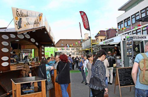 Trotz des vor allem am Wochenende guten Wetters fanden nur relativ wenig Besucher den Weg auf den Food-Markt. Das lag wohl auch an der mangelhaften Werbung. Foto: Georg Friedel