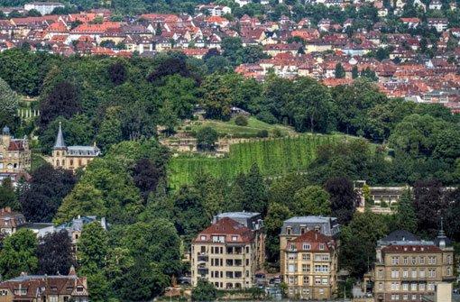 Von der Weissenburg aus ist auch die bKarlshöhe/b gut auszumachen. Zum Westen hin bietet die Anhöhe oberhalb des Marienplatzes viel Baumbestand und einen schattigen Spielplatz in einer Schlucht. Foto: Leserfotograf thomas_korntal