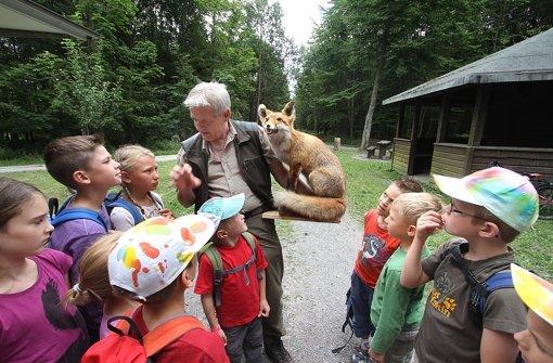 Kinder gehen mit dem Jäger auf die Pirsch