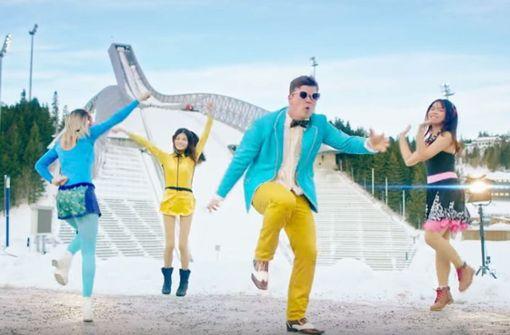 """Gangnam Style"" auf Norwegisch: Hommage der Wintersportler in Pyeongchang. Foto: Screenshot Youtube / NRK Sport"