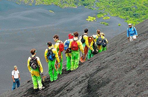 Rutschpartie auf Lava