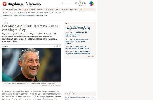 Die Augsburger Allgemeine rückt Trainer Jürgen Kramny in den Fokus. Foto: Screenshot