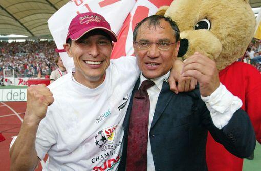 Krassimir Balakov und Felix Magath – beide finden sich in dieser Jubiläumself der Roten wieder. Foto: Baumann