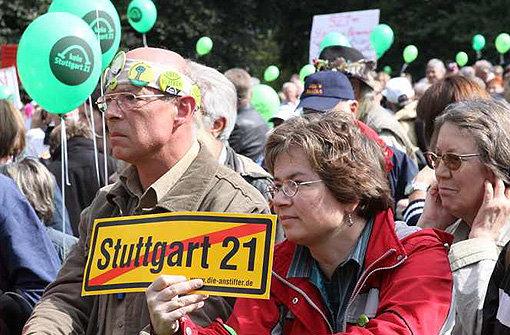 Demo im Schlossgarten. Foto: Vogt
