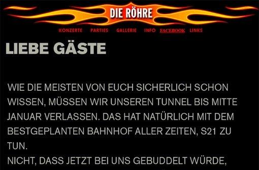 Mitteilung der Röhre-Betreiber an ihre Gäste Foto: Screenshot