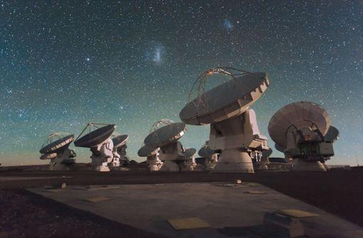 Wie CHIME spähen auch die 66 mobilen, ausrichtbaren Parabolantennen des Radioteleskop-Observatoriums  ALMA (Atacama Large Millimeter/submillimeter Array) bei San Pedro de Atacama in der chilenischen Chajnantor-Hochebene nach Radiowellen aus dem Weltall. Foto: dpa