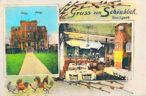 1931 - Ländliche Idylle mit Hühnern im Höhenrestaurant Schönblick der Weißenhofsiedlung  Foto: Kartensammlung von Wibke Wieczorek