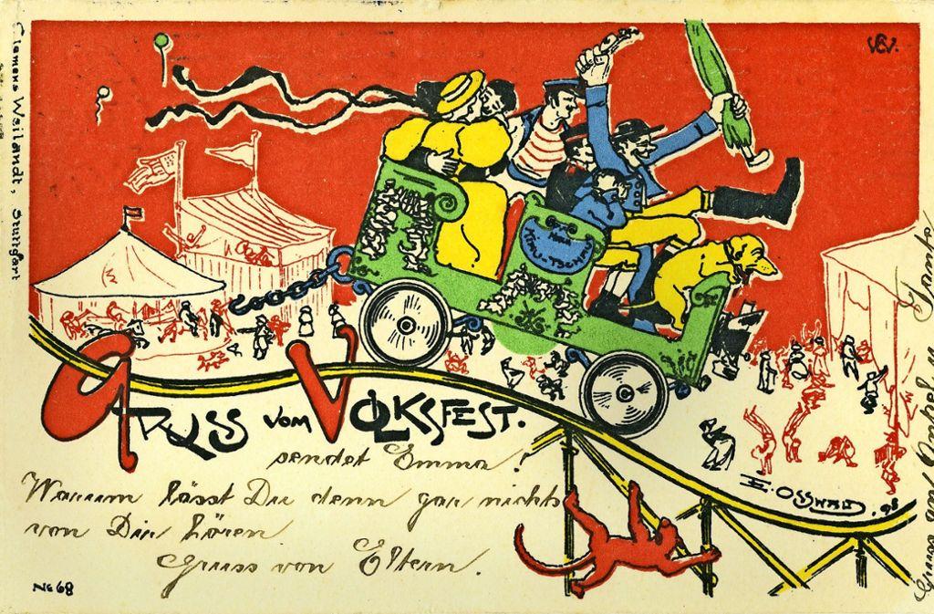 """Diese Karte stammt aus dem Jahr 1900: """"Cannstatt-Stuttgart"""" steht ..."""