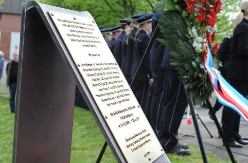 In Heibronn erinnert eine Gedenktafel an die getötete Polizistin Michèle Kiesewetter und die anderen Opfer der Neonazi-Mordserie. Foto: dpa