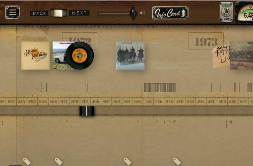Im schönen Retro-Look kann man beispielsweise all seine LPs und weitgehend Unbekanntes aus dem Privatarchiv  erforschen.   Foto: Screenshot