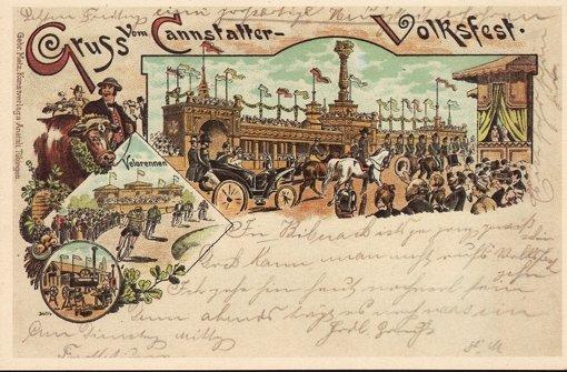Gruß vom Cannstatter Volksfest: Leserin Erika Lang hat diese über 100 Jahre alte Karte geschickt. Foto: Postkarte/Erika Lang