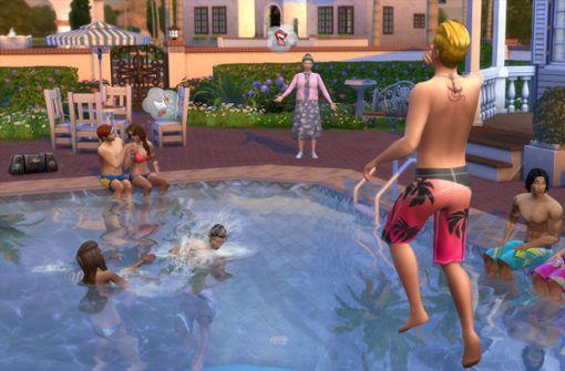 Die Sims haben nur so lange Spaß am Baden, bis die Machtfantasien des Spielers mit ihm durchgehen und er die Leiter entfernt. Foto: Electronic Arts