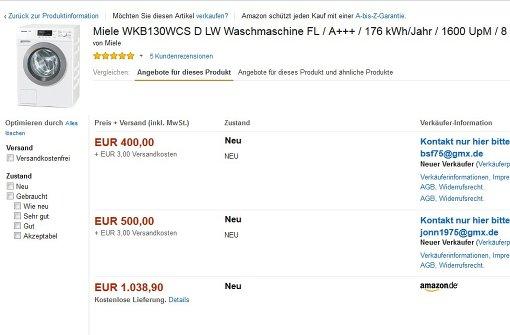 Bei unserem Versuch, einen Screenshot der beschriebenen Betrügereien zu machen, wechselten die Angebote mauf der Amazon-Marketplace-Seite buchstäblich minütlich. Auch der im Text erwähnte jonn1975@gmx.de war dabei. Foto: StZN-Screenshot