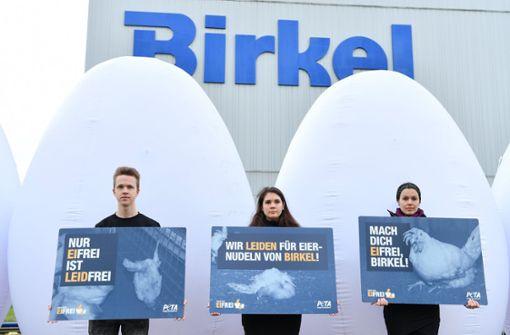 Mit Eier-Attrappen gegen Tierquälerei protestieren