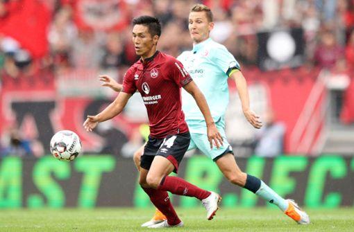 17. 1. FC Nürnberg, 41,60 Millionen Euro: Der zweite Aufsteiger rangiert auf dem zweitletzten Platz. Die späten Zugänge Vura (5,0 Millionen Euro) und Yuya Kubo (Bild, vorne/4,5) sind die am höchsten eingestuften Akteure.  Foto: Getty