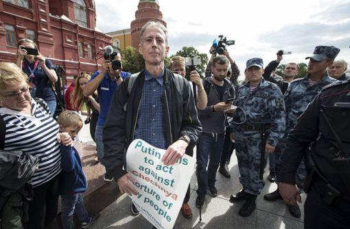 Aktivist Peter Tatchell kurz vor seiner Ingewahrsamnahme. Foto: AP