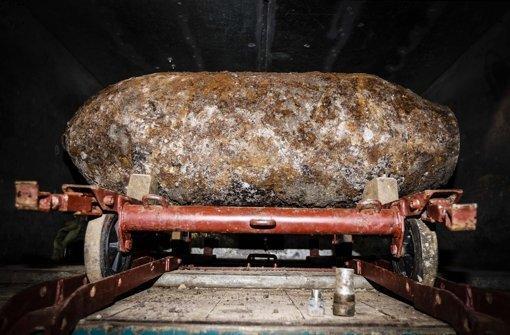 Diese Fliegerbombe wurde am Dienstag auf einer Stuttgart-21-Baustelle gefunden. Foto: Lichtgut/Leif Piechowski