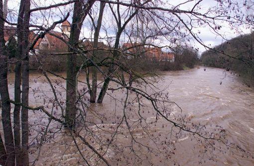 Die Enz tritt über das Ufer