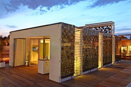 """Außen schillert """"Home+"""" in Gold- und Bronzetönen, weil das übliche Einheitsblau der Solarzellen missfiel. Im Inneren ist bald jeder Winkel zweimal genutzt. Foto:"""