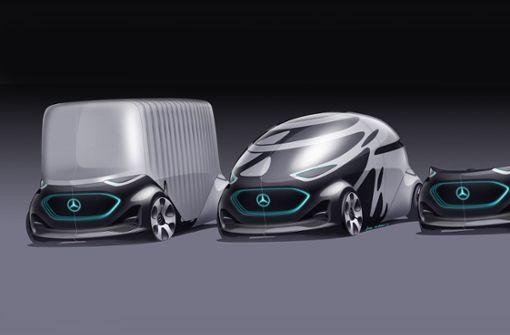 Transporter oder Kleinbus (von links). Die Aufbauten können rasch ausgewechselt werden.  Foto: Daimler