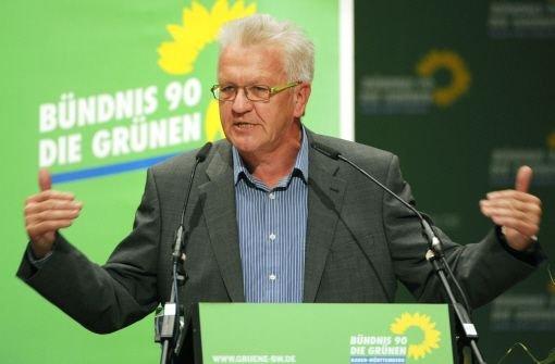 Ministerpräsident Winfried Kretschmann auf dem Grünen-Landesparteitag in Aalen Foto: dpa