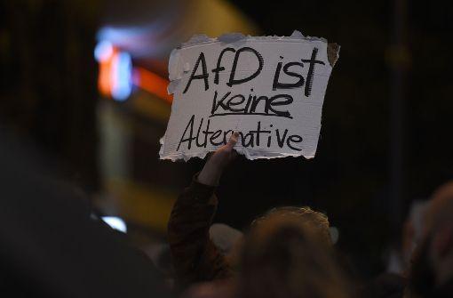 Große Demonstration vor AfD-Wahlparty