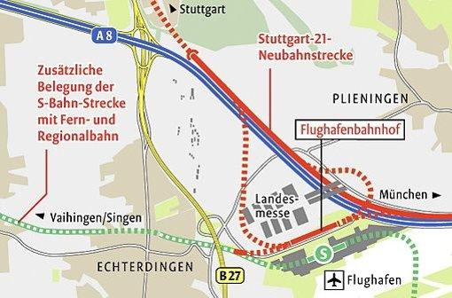 Zielvorstellung für den Bahnanschluss nach dem Filder-Dialog. Foto: StN-Grafik: Lange