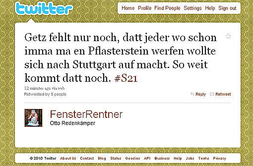 S21-Reaktionen auf Twitter - etwa von FensterRentner Screenshot: StN