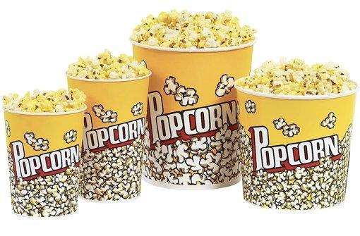 Hätten Sie's gewusst? Schätzen Sie mit: Wie viel Popcorn ist in den verschiedenen Eimern? Der kleinste (Kinder-Becher) ist gefüllt mit 72Gramm. Wie viel steckt in dem mittleren, dem großen und dem Jumbo-Becher? Auf Artikelseite 2 erfahren Sie die Lösung. Foto: StN