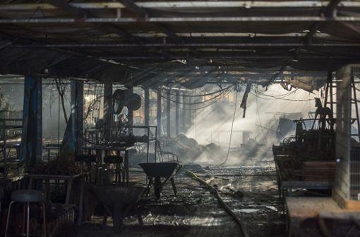 Der Brand im Ortsteil Geradstetten war am Mittwochmorgen bei der Feuerwehr gemeldet worden, teilte die Polizei mit. Foto: 7aktuell.de/Simon Adomat