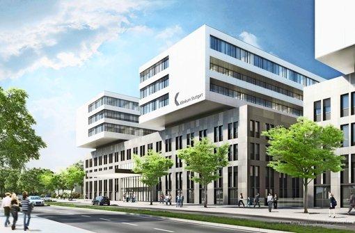 Das zukünftige Gesicht des Klinikums Stuttgart an der Kriegsbergstraße.  Animation: Arcass Freie Architekten BDA Stuttgart und Niclas Brand, Hamburg Foto: