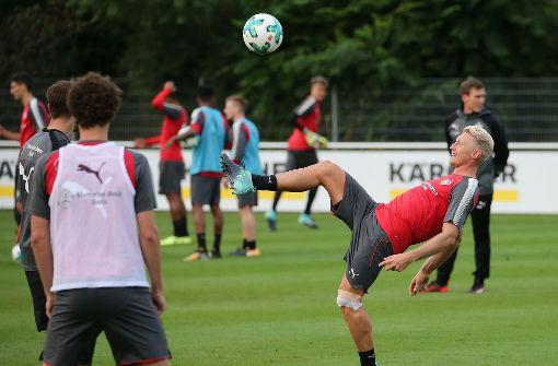 Im Training zeigte der Neuzugang Einsatz. Foto: Pressefoto Baumann