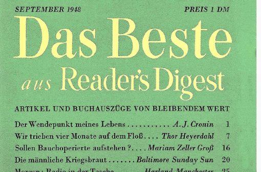 """Die erste Ausgabe von """"Das Beste aus Reader's Digest"""" erschien im September 1948.  Foto: Readers Digest"""
