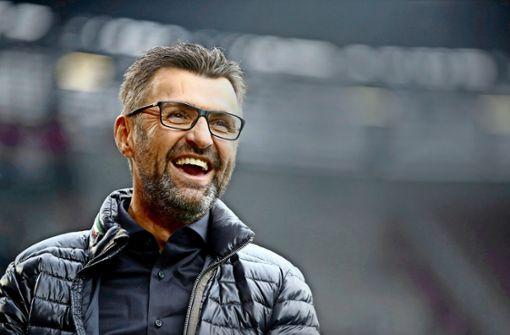 Hat vor dem Duell mit dem VfB Stuttgart gut lachen: Michael Köllner vom 1. FC Nürnberg. Foto: Getty