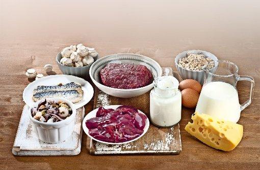 Fisch, Fleisch, Milch, Eier und Käse: Vitamin B12 kommt fast ausschließlich in tierischen Produkten vor. Foto: Fotolia/bit24