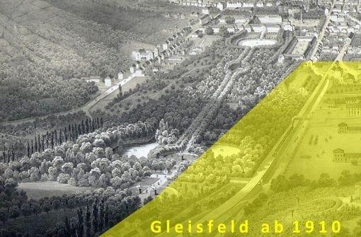 b1910:/b Das weiter entwickelte Gleisfeld greift erstmals erheblich in den Park ein. Foto: Montage/Von Holst