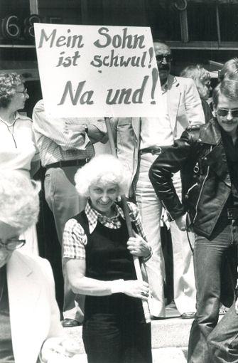 Demonstrantin im Juni 1979 auf dem Schlossplatz.  Foto: Kraufmann
