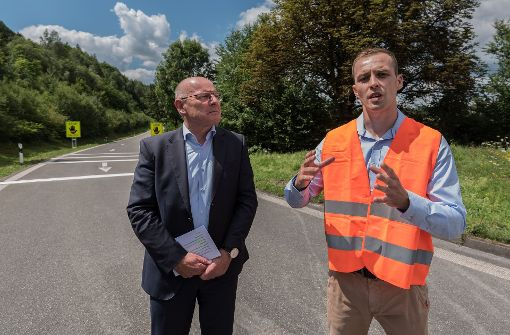 Auf Baustellentour mit Verkehrsminister Hermann