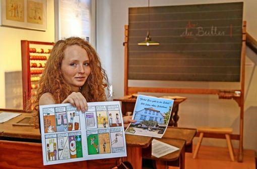Ein Museumsführer im Comic-Stil mit Bildern und Sprechblasen