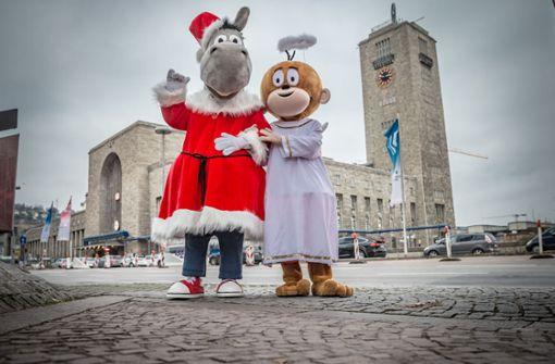 Äffle und Pferdle verbreiten Weihnachtsstimmung in Stuttgart