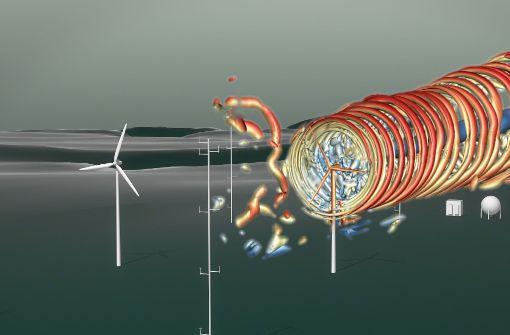 Das Modell zeigt fürs Bergland typische Turbulenzen und Luftverwirbelungen, die auf dem Wind-Testfeld am Stöttener Berg bei Geislingen wissenschaftlich untersucht werden sollen. Foto: 2DMedia