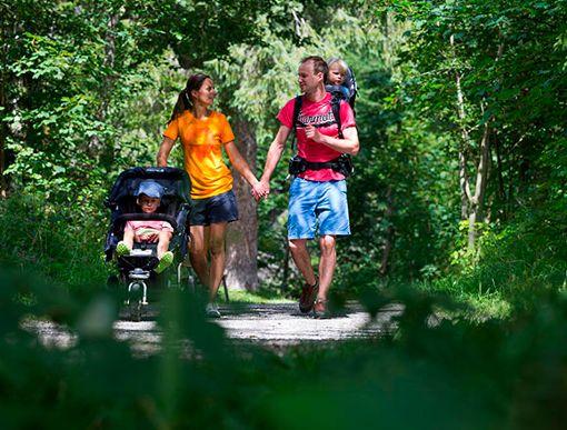 Kinderwagen-freundliche Wanderwege am Bach und auf Gipfelhöhe  Foto: Kleinwalsertal Tourismus eGen