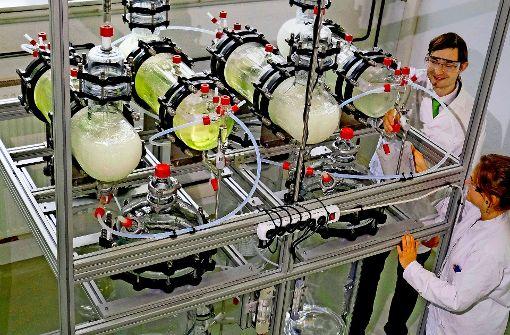 Die Berufschancen für Ingenieure sind bestens – hier in einer Recyclinganlage für Phosphor in Freiberg. Foto: dpa-Zentralbild