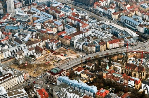 Die Riesenbaustelle des Gerber-Areals von oben Foto: Beytekin
