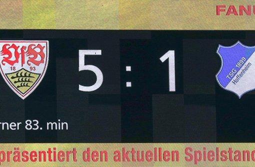Der VfB Stuttgart bezwingt die TSG 1899 Hoffenheim mit 5:1.  Foto: Pressefoto Baumann