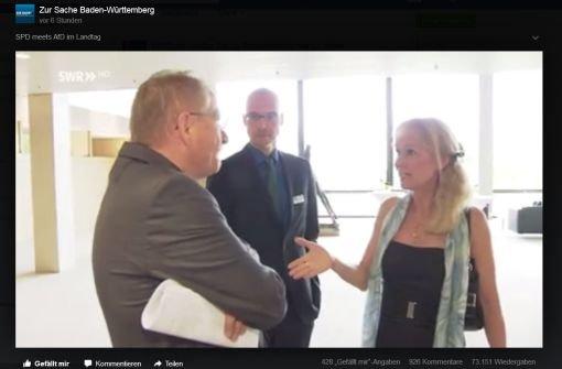 Ex-Landtagsvizepräsident Drexler hat sich geweigert, der AfD-Landtagsabgeordneten Christina Baum die Hand zu geben - und daraufhin eine Morddrohung erhalten.  Foto: Screenshot Facebook